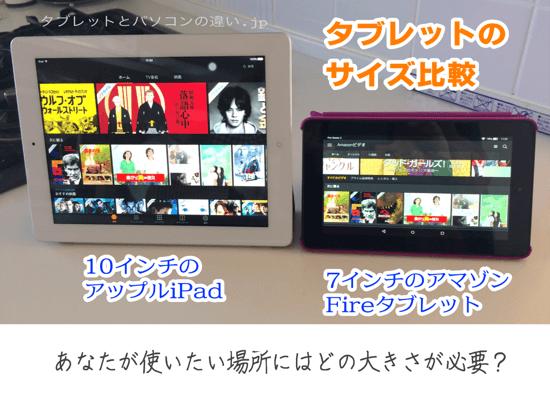 タブレットのサイズ比較、10インチのアップルiPad、7インチのアマゾンFireタブレット、あなたが使いたい場所にはどの大きさが必要?