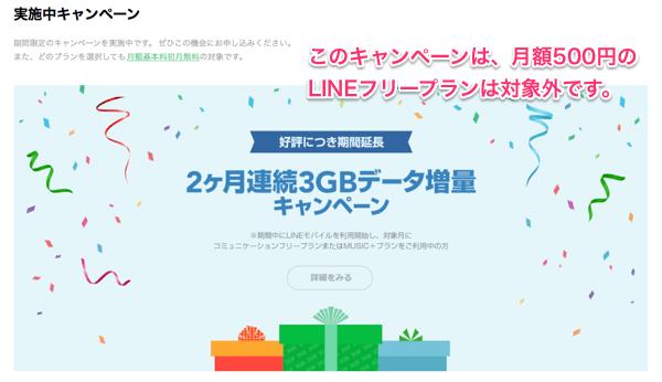 「2ヶ月連続3GBデータ増量キャンペーン」はおすすめしている月額500円の「LINEフリープラン」では対象外です。