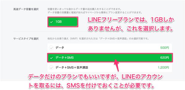 LINEフリープランでは1GBしかありませんが、これを選択します。データだけのプランでも良いのですが、LINEのアカウントを取るためにはSMSを付けておくことが必要です。